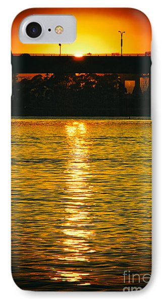 IPhone Case featuring the photograph Golden Sunset Behind Bridge by Mariola Bitner