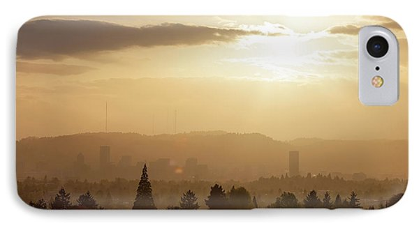 Golden Sunset Over Portland Skyline Phone Case by David Gn
