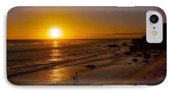 IPhone Case featuring the photograph Golden Sunset Walk On Malibu Beach by Jerry Cowart