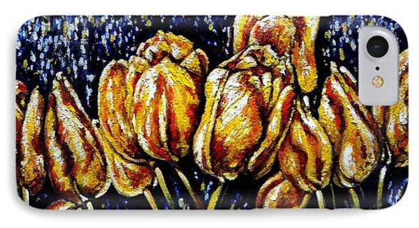 Golden Tulips IPhone Case by Harsh Malik