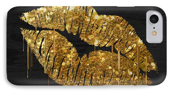 Gold Lipstick IPhone Case by Mindy Sommers