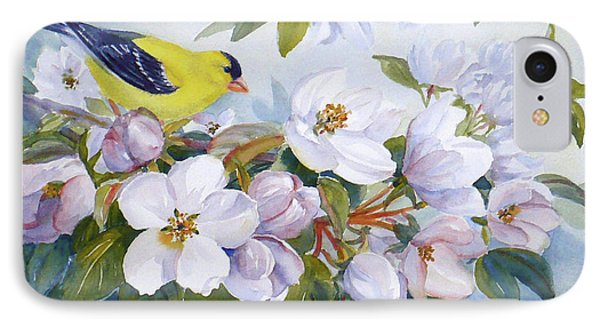 Goldfinch And Crabapple Blossoms IPhone Case by Janet  Zeh