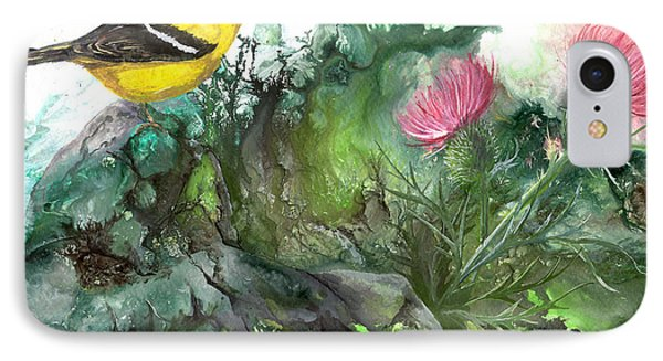 IPhone Case featuring the painting Goldfinch by Sherry Shipley