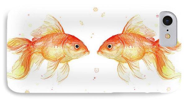 Goldfish Love Watercolor IPhone 7 Case by Olga Shvartsur