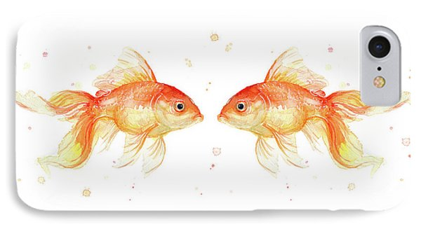Goldfish Love Watercolor IPhone Case by Olga Shvartsur