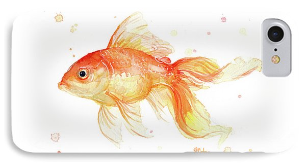 Goldfish Painting Watercolor IPhone Case by Olga Shvartsur