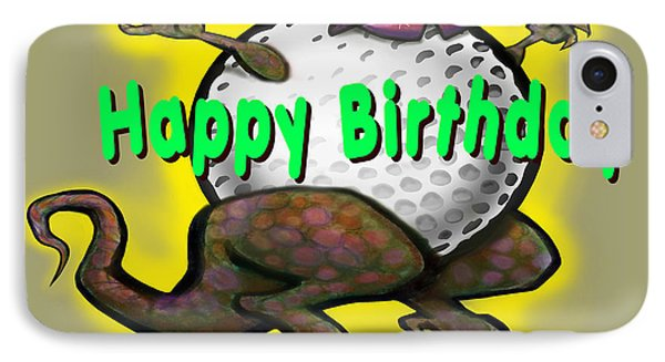 Golf A Saurus Birthday Phone Case by Kevin Middleton