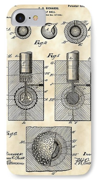 Golf Ball Patent 1902 - Vintage IPhone Case by Stephen Younts