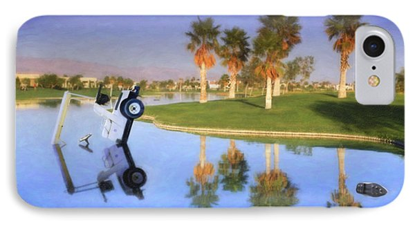 IPhone Case featuring the photograph Golf Cart Stuck In Water by David Zanzinger