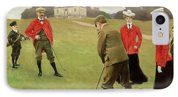 Golf Players At Copenhagen Golf Club  IPhone Case