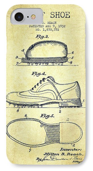 Golf Shoe Patent Drawing From 1931 - Vintage IPhone Case