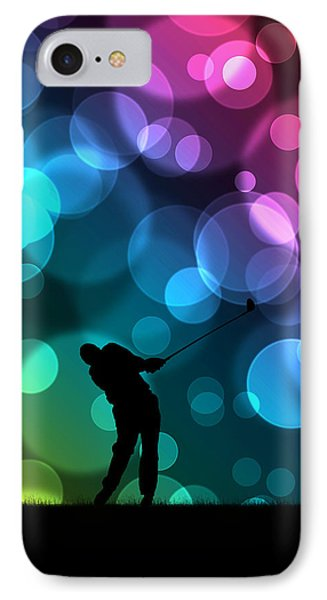 Golfer Driving Bokeh Graphic IPhone Case by Phil Perkins