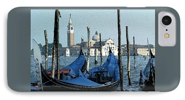 IPhone Case featuring the digital art Gondolas Across San Giorgio by Donna Corless