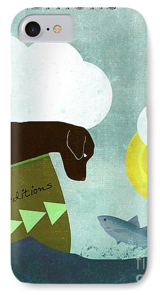 Good Dog Expeditions, Dog On A Lake Meeting A Fish IPhone Case by Tina Lavoie