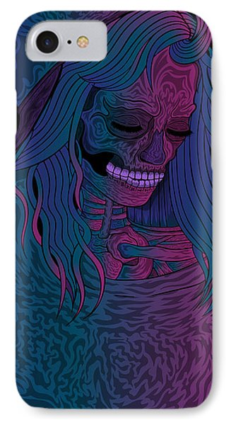 IPhone Case featuring the drawing Good Vibes Skelegirl by Raphael Lopez