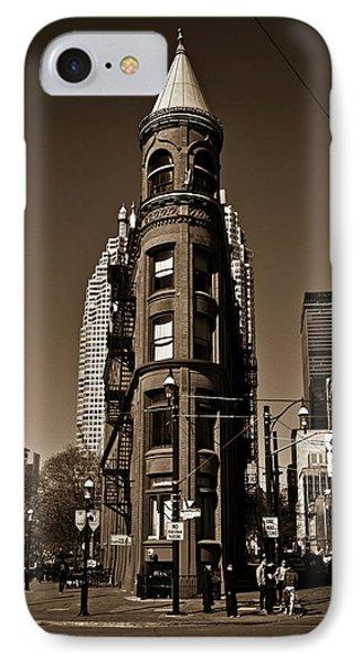 IPhone Case featuring the photograph Gooderham Flatiron Building Toronto Canada Sepia Version by Brian Carson