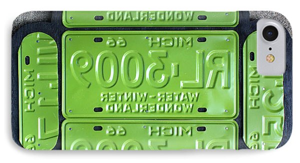 Google Android Logo Recycled License Plate Art On Cement Wall IPhone Case