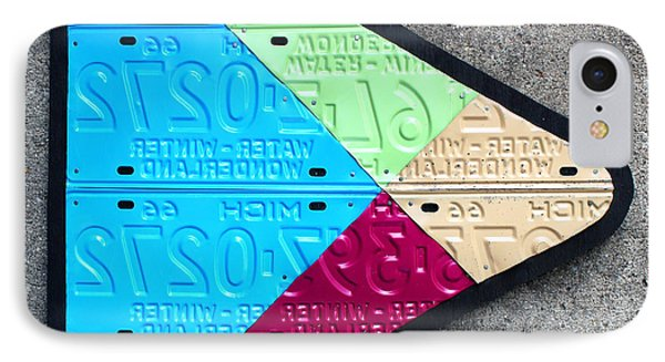 Google Play Logo Recycled License Plate Art On Cement Wall IPhone Case