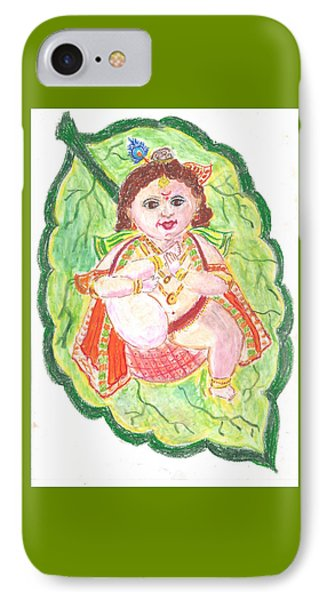 Gorgeous Leaf Krishna IPhone Case by Chitra Pandalai
