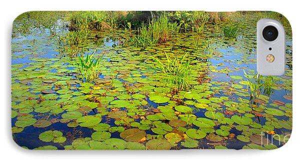 Gorham Pond Lily Pads IPhone Case by Susan Lafleur