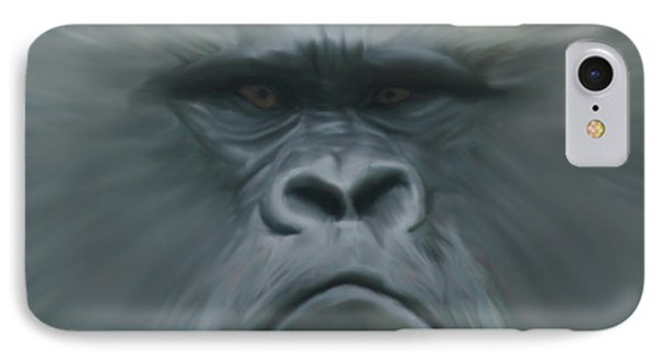 Gorilla Freehand Abstract IPhone Case by Ernie Echols