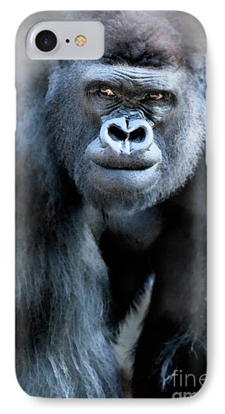 Gorilla In The Mist Large Canvas Art, Canvas Print, Large Art, Large Wall Decor, Home Decor IPhone Case by David Millenheft