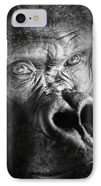 Gorilla On Wood IPhone Case by David Millenheft