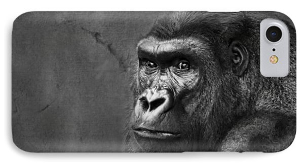 Gorilla Stare - Black And White IPhone Case by Nikolyn McDonald