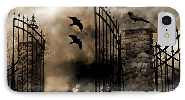 Gothic Surreal Fantasy Ravens Gated Fence  IPhone 7 Case by Kathy Fornal