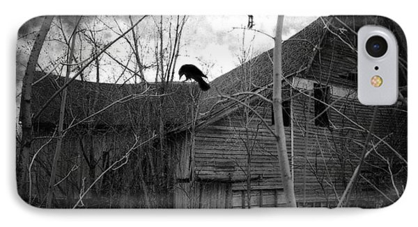 Gothic Surreal Haunting Old Barn With Crows Ravens - Spooky Gothic Black White Ravens Flying IPhone Case