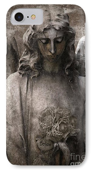 Gothic Surreal Mourning Angel - Inspirational Angel Art - Believe  IPhone Case