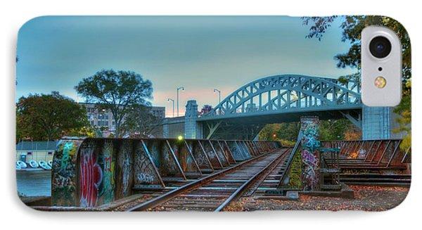 Graffiti On Train Tracks Under The Bu Bridge - Cambridge IPhone Case by Joann Vitali