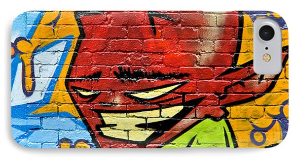 IPhone Case featuring the painting Graffity Demon On The Textured Brick Wall by Yurix Sardinelly