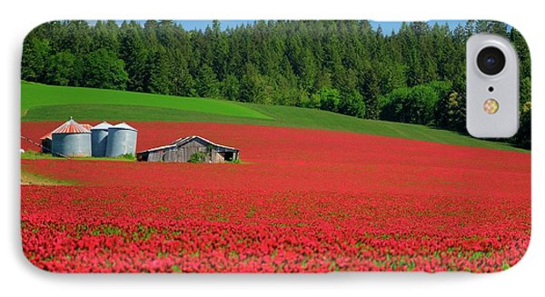 Grain Bins Barn Red Clover IPhone Case by Jerry Sodorff