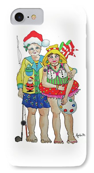 IPhone Case featuring the painting Gram - Cracker And Papa by Rosemary Aubut