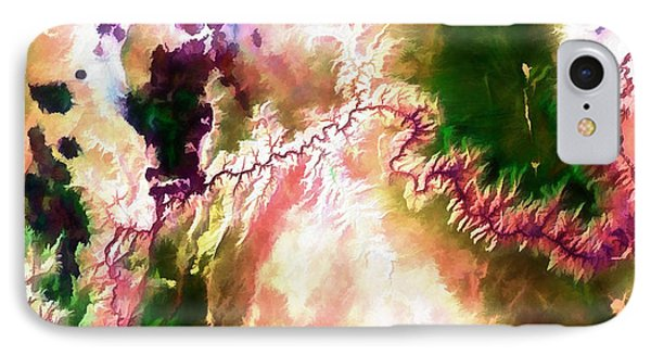 Grand Canyon In Arizona Watercolor Of Landsat Image IPhone Case