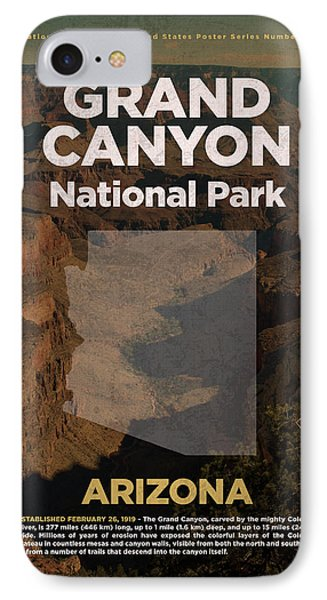 Grand Canyon National Park In Arizona Travel Poster Series Of National Parks Number 23 IPhone Case by Design Turnpike
