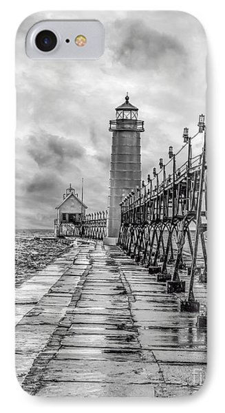 Grand Haven Lighthouse - Monochome IPhone Case by Nick Zelinsky