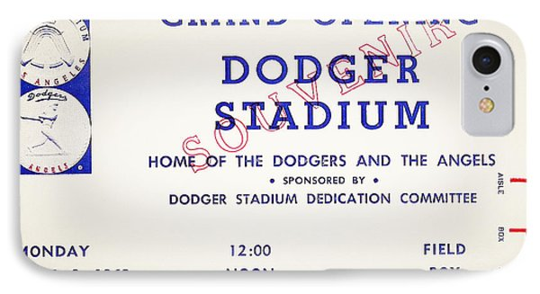 Grand Opening Dodger Stadium Ticket Stub 1962 Phone Case by Bill Cannon