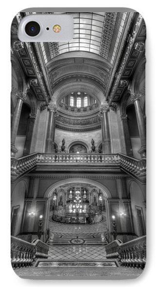 Grand Staircase Illinois State Capitol B W IPhone Case by Steve Gadomski