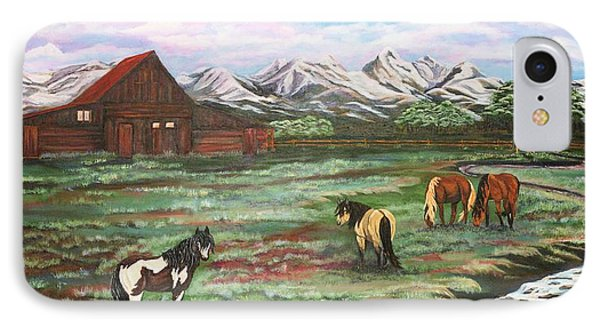 IPhone Case featuring the painting Grand Teton Mountains by Michelle Joseph-Long