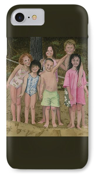 IPhone Case featuring the painting Grandkids On The Beach by Ferrel Cordle