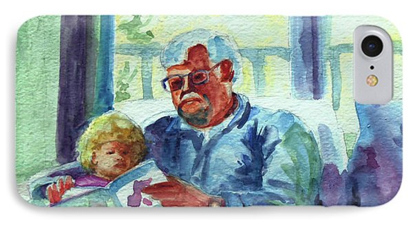 IPhone Case featuring the painting Grandpa Reading by Kathy Braud