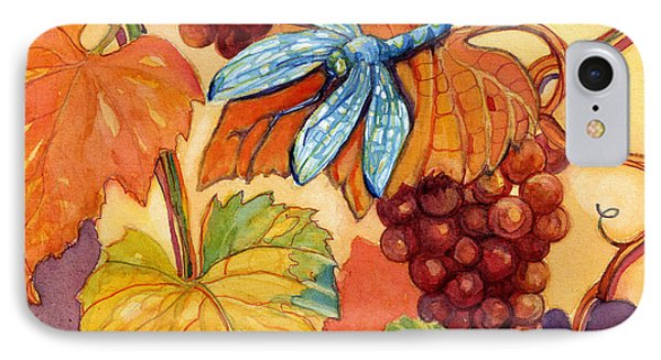 Grapes And Dragonfly Phone Case by Peggy Wilson