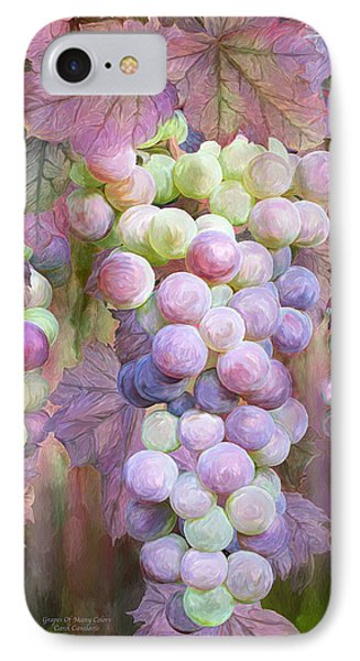 IPhone Case featuring the mixed media Grapes Of Many Colors by Carol Cavalaris