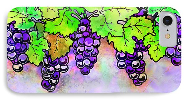 Purple Grapes On The Vine - Vintage Wine Harvest - 1 In A Series IPhone Case by Rayanda Arts