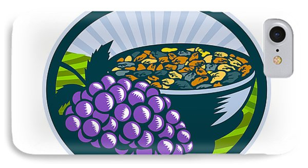 Grapes Raisins Bowl Oval Woodcut IPhone Case