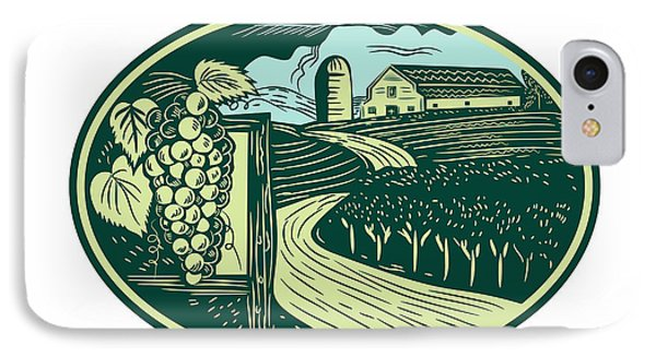 Grapes Vineyard Winery Oval Woodcut IPhone Case