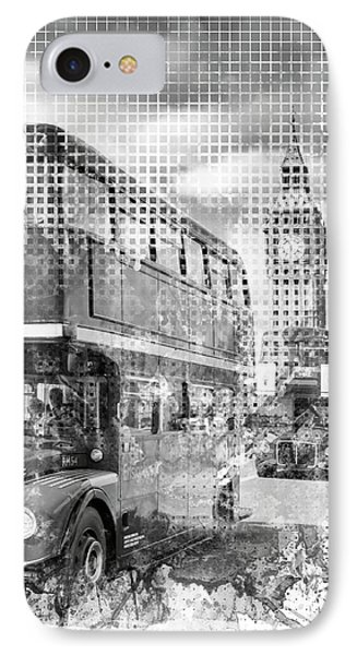 Graphic Art London Westminster Buses IPhone Case by Melanie Viola