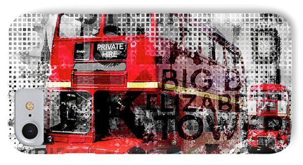 Graphic Art London Westminster Buses - Typography IPhone Case by Melanie Viola